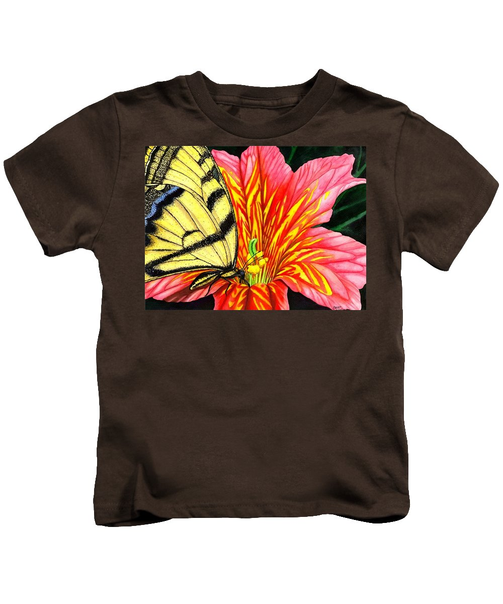 Salpiglossis Kids T-Shirt featuring the painting Salpliglossis by Catherine G McElroy