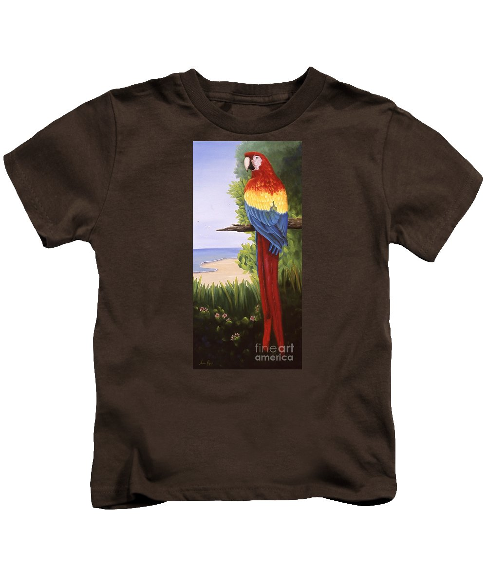 Animal Kids T-Shirt featuring the painting Scarlet Macaw by Susan Jump
