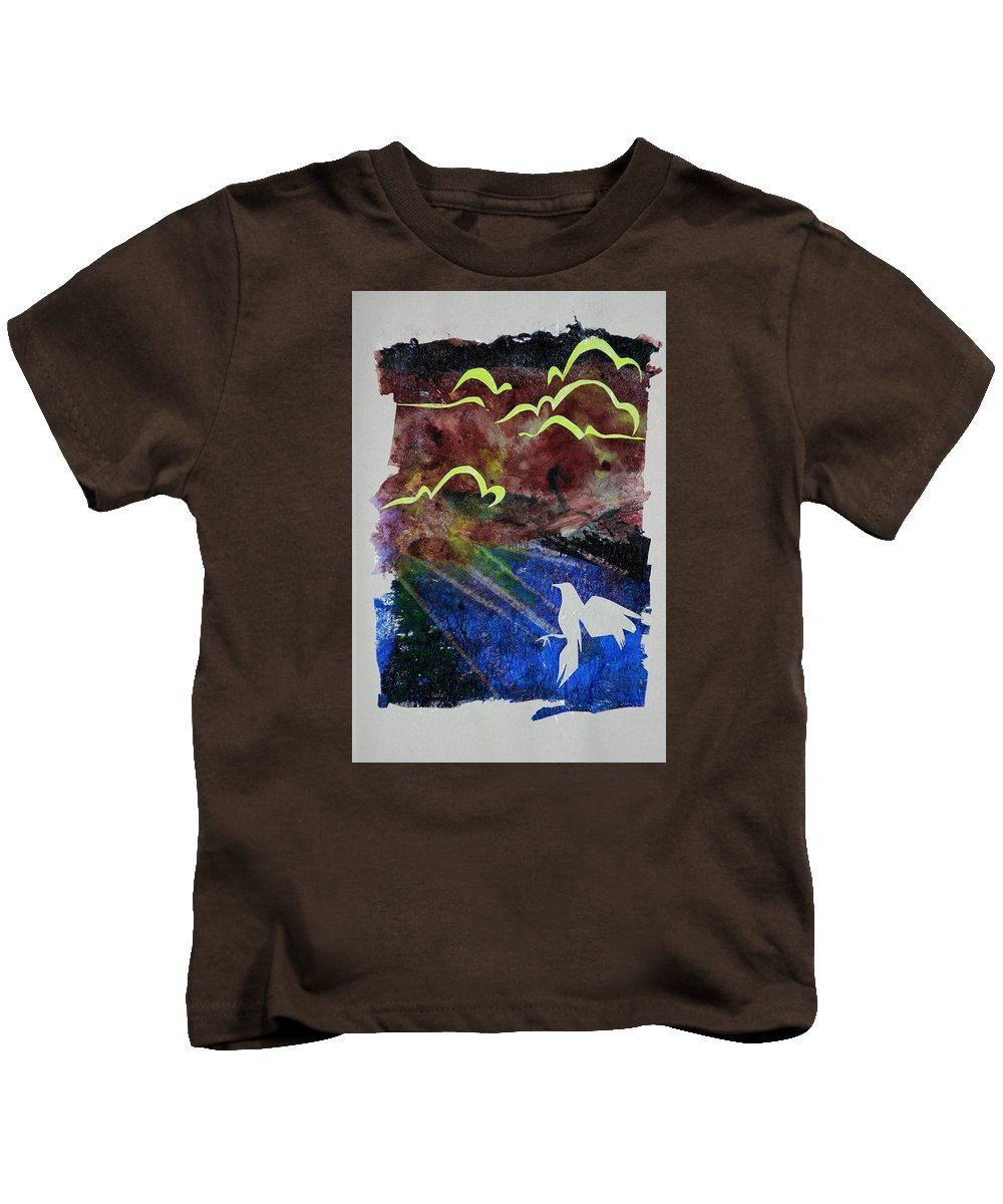 Bird Clouds Contrast Collage Brown Neon Kids T-Shirt featuring the mixed media Scramble by Sylvie Boersma