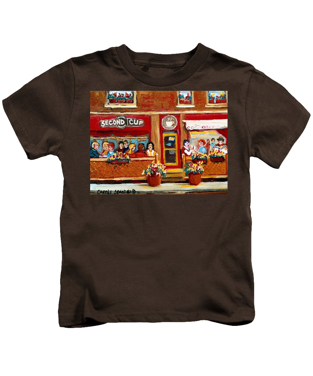 Second Cup Coffee Shop Kids T-Shirt featuring the painting Second Cup Coffee Shop by Carole Spandau