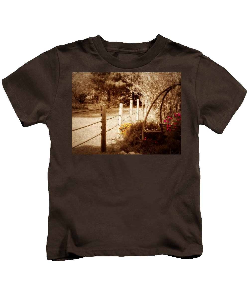 Nature Kids T-Shirt featuring the photograph Sepia Garden by Julie Hamilton