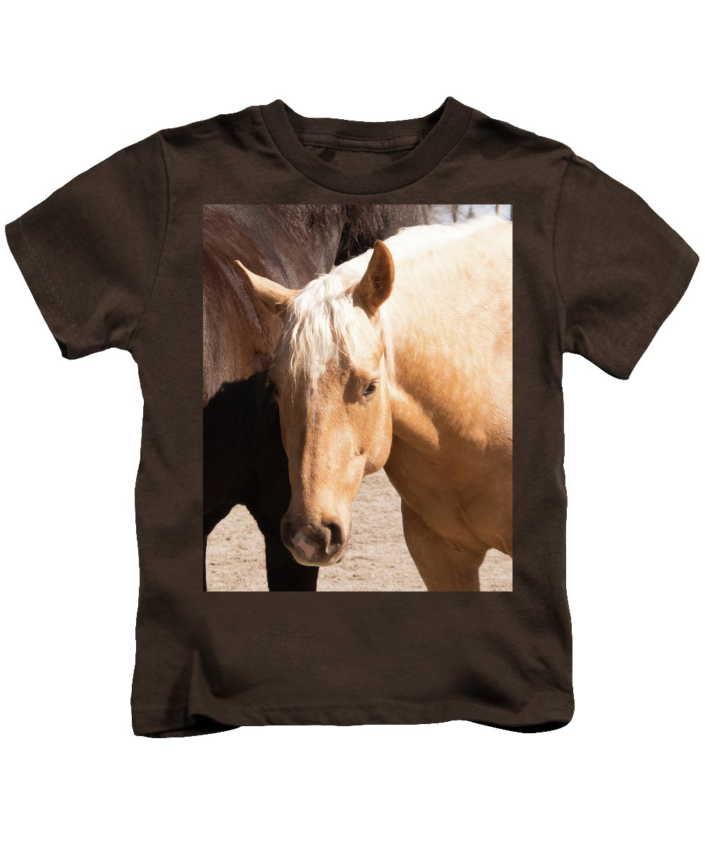 Horse Kids T-Shirt featuring the photograph Shy Horse by Diane Schuler