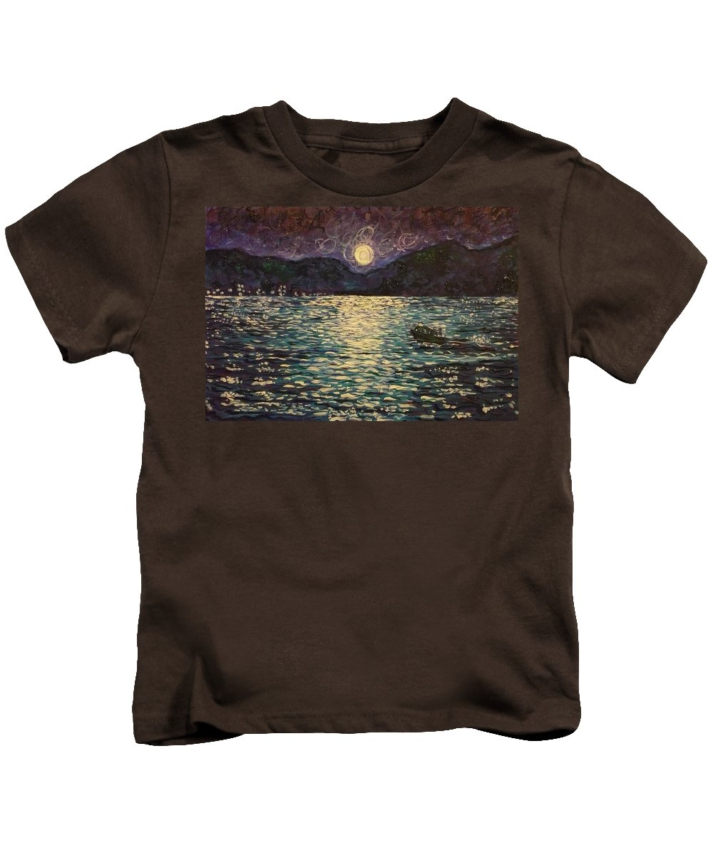 Landscape Kids T-Shirt featuring the painting Silver Sea by Ericka Herazo