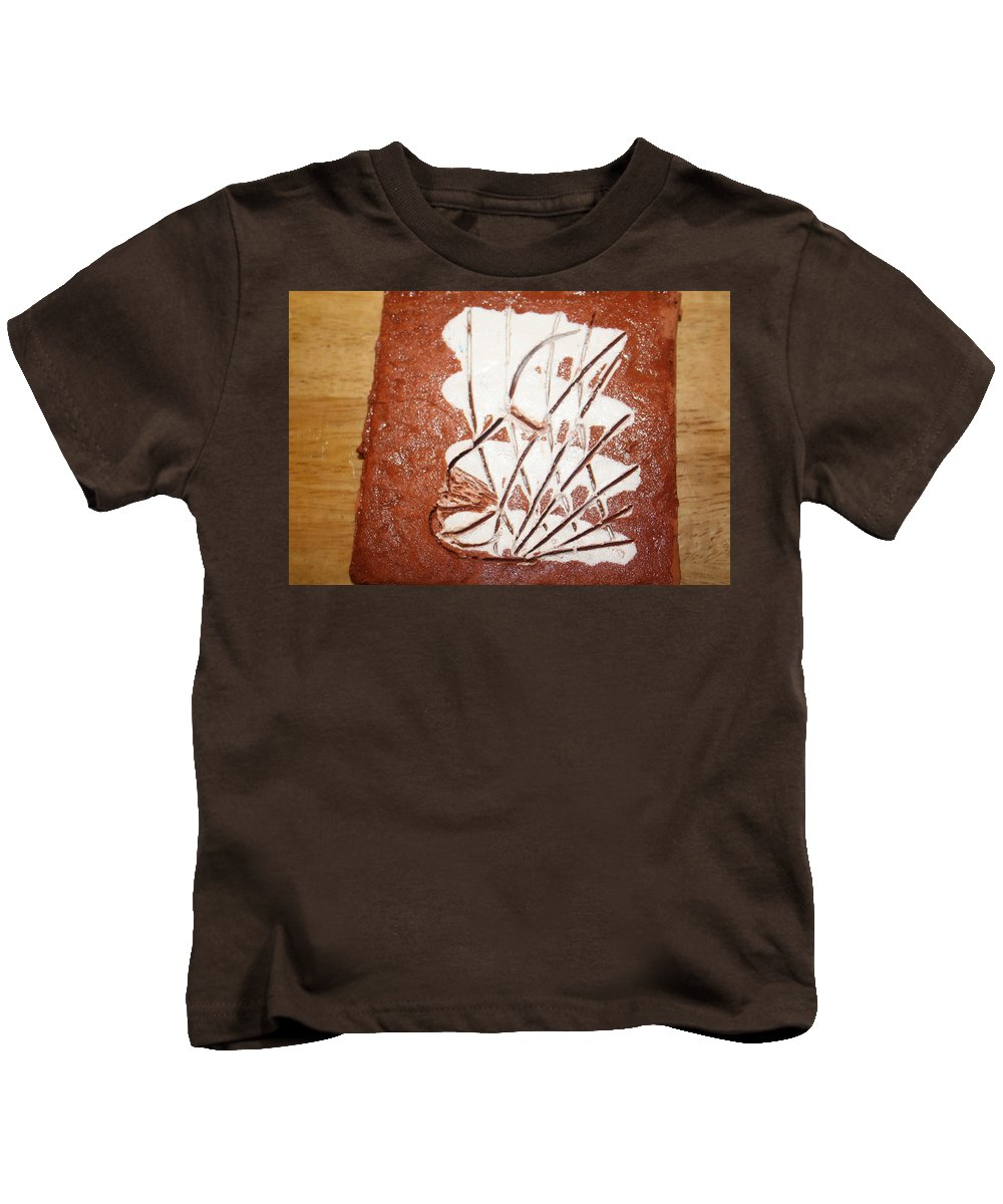 Jesus Kids T-Shirt featuring the ceramic art Simon - Tile by Gloria Ssali