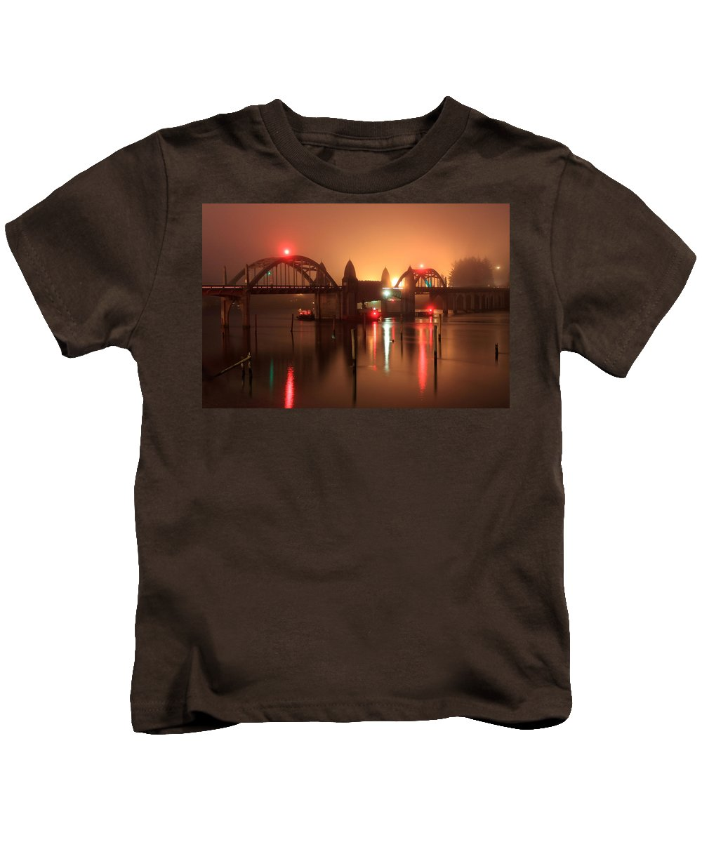Night Bridge Kids T-Shirt featuring the photograph Siuslaw River Bridge At Night by James Eddy