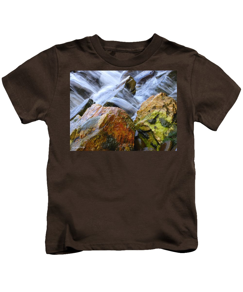 Rocks Kids T-Shirt featuring the photograph Slippery When Wet by Shelley Jones