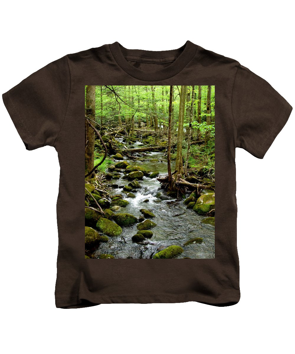 River Kids T-Shirt featuring the photograph Smoky Mountain Stream 2 by Nancy Mueller