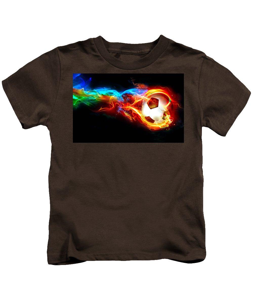 Soccer Kids T-Shirt featuring the digital art Soccer by Dorothy Binder