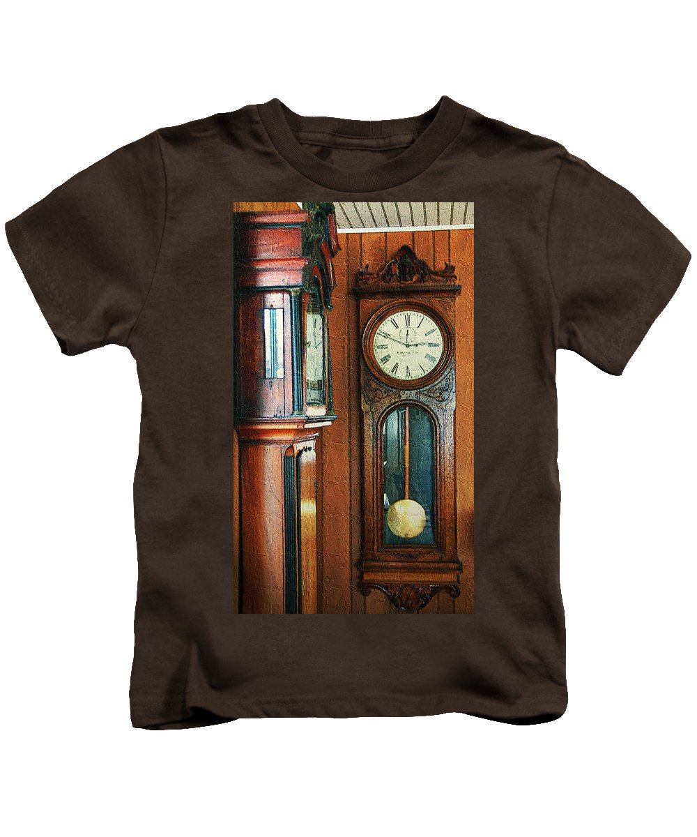 Antiques Kids T-Shirt featuring the digital art Somebodys Grandfathers Clocks by RC DeWinter
