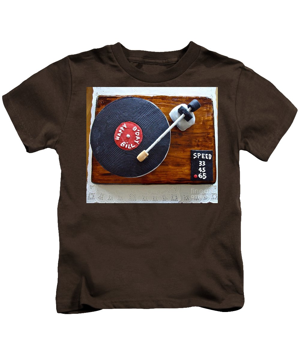 Birthday Cake Kids T-Shirt featuring the photograph Record Player Cake by Elisabeth Derichs