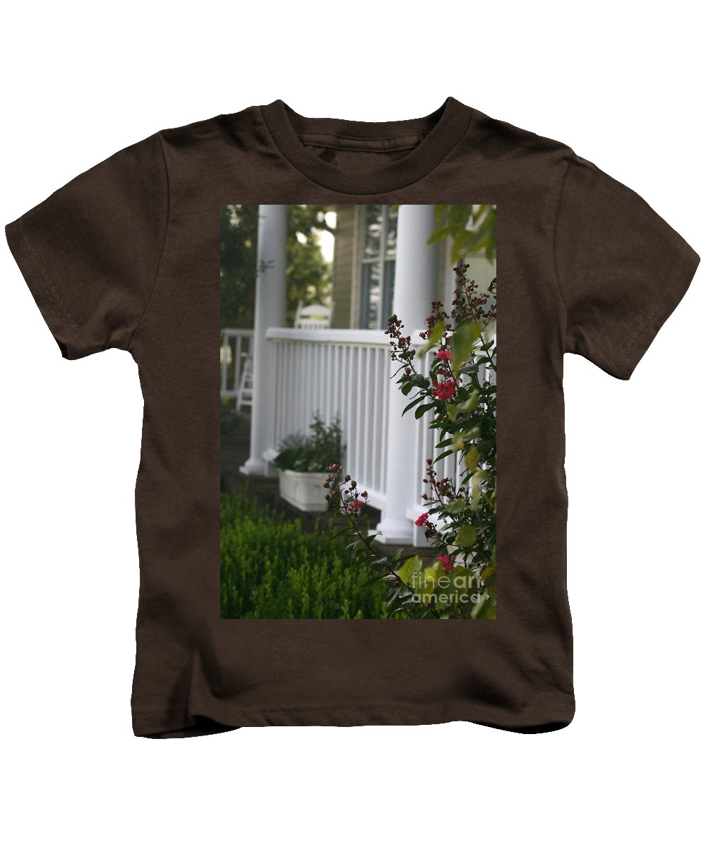 Summer Kids T-Shirt featuring the photograph Southern Summer Flowers And Porch by Nadine Rippelmeyer