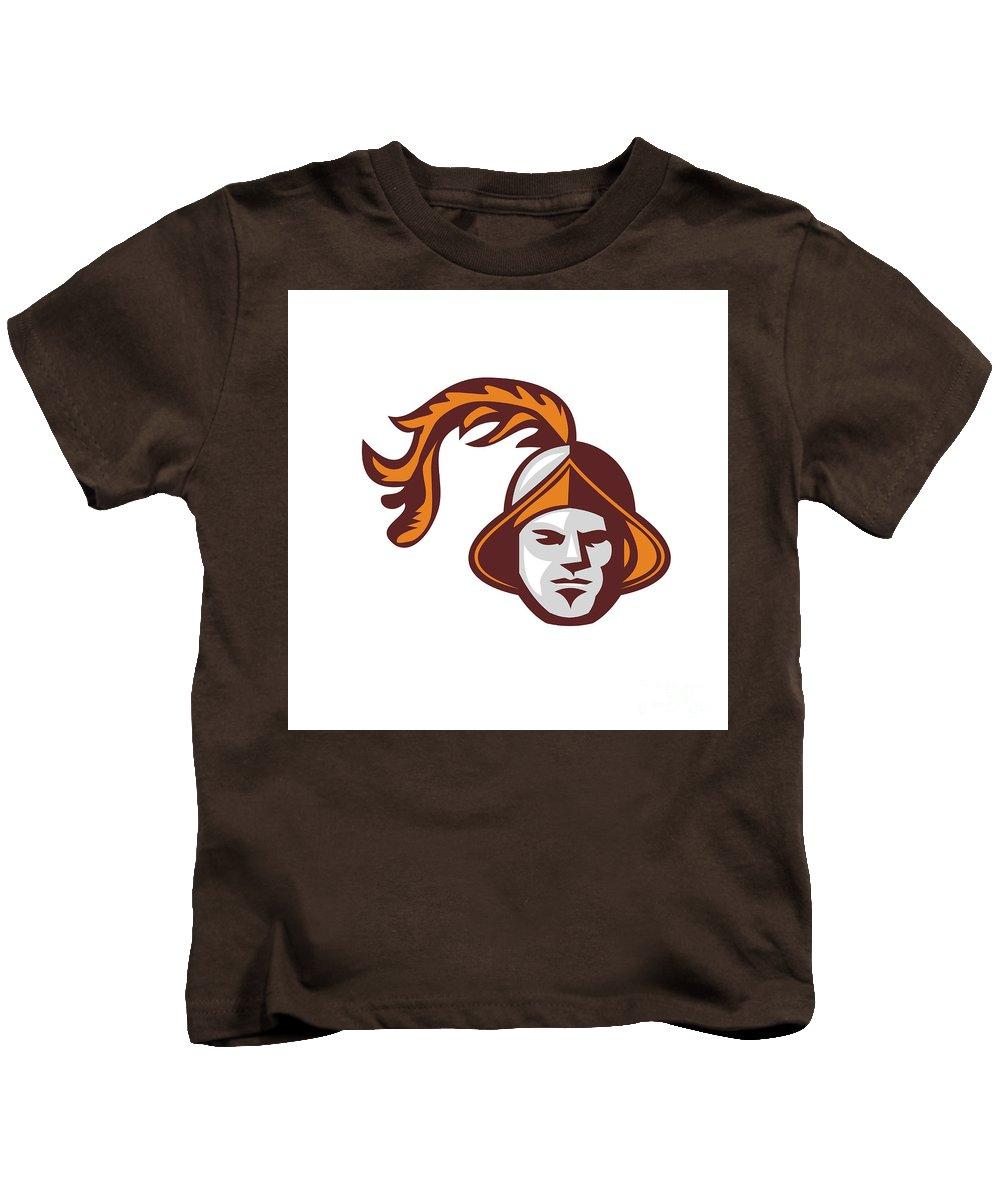 Spanish Kids T-Shirt featuring the digital art Spanish Conquistador Head Retro by Aloysius Patrimonio
