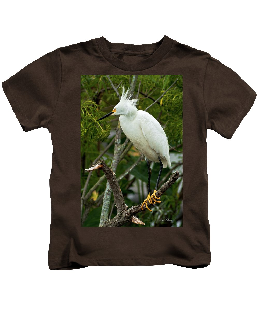 Bird Kids T-Shirt featuring the photograph Spiked by Christopher Holmes