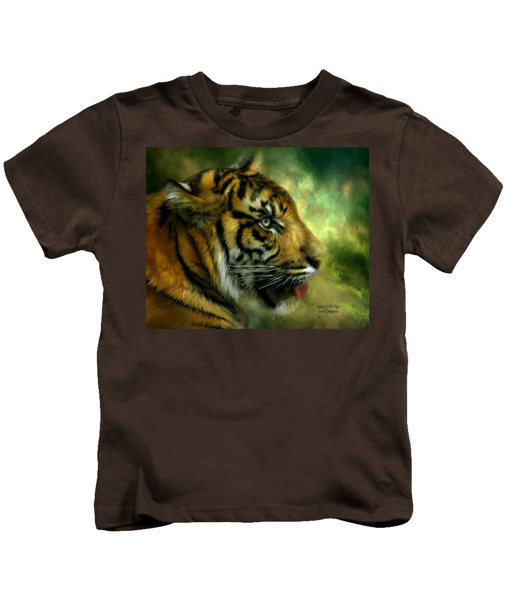 Tiger Kids T-Shirt featuring the mixed media Spirit Of The Tiger by Carol Cavalaris