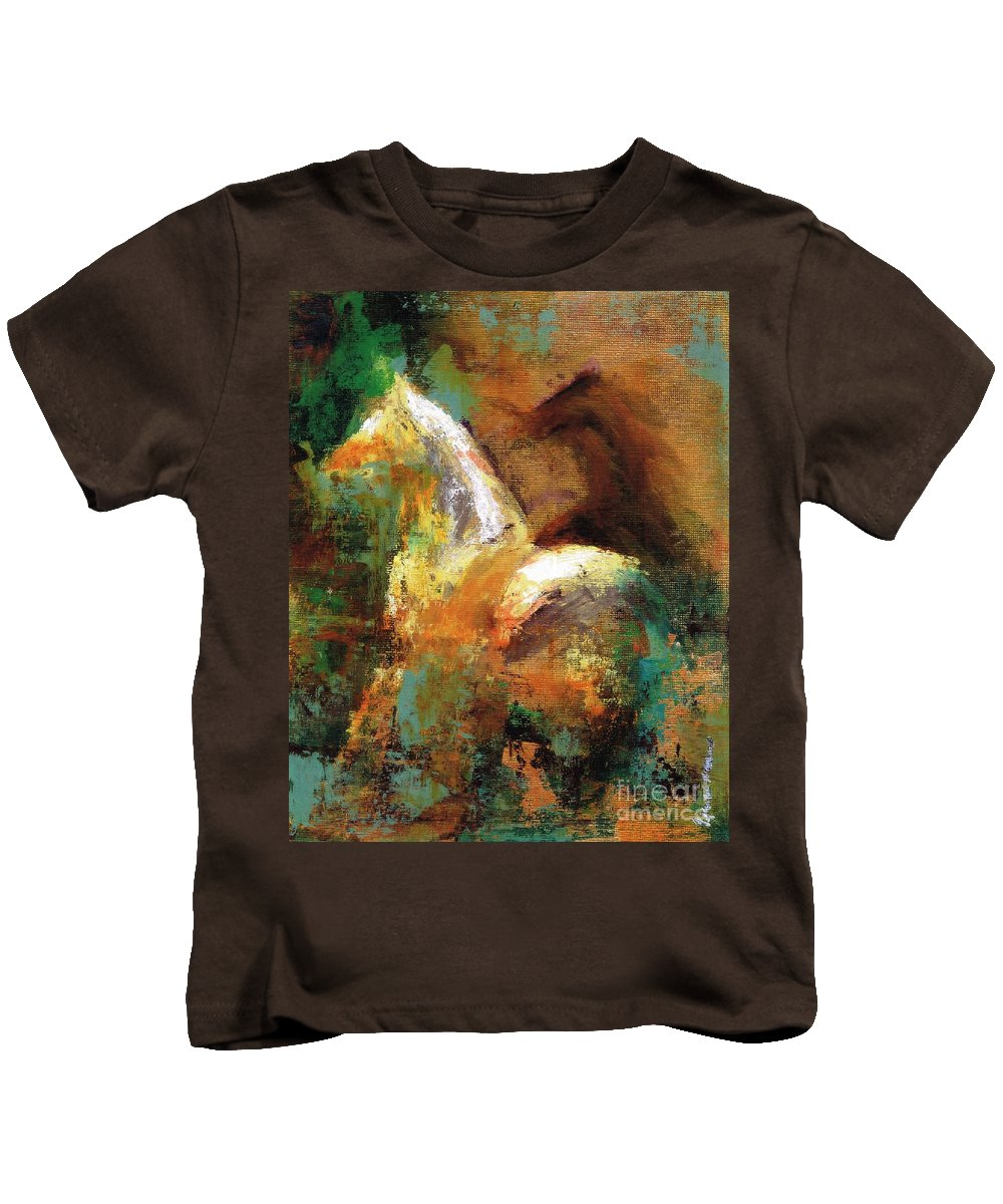 Abstract Horse Kids T-Shirt featuring the painting Splash Of White by Frances Marino