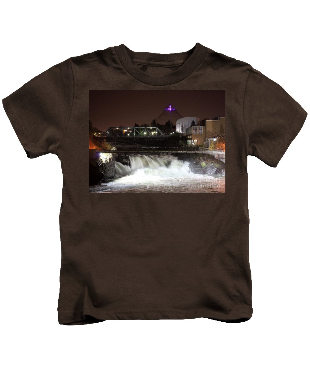 Spokane Kids T-Shirt featuring the photograph Spokane Falls Night Scene by Carol Groenen