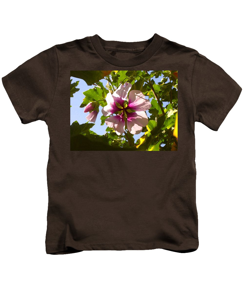 Flower Kids T-Shirt featuring the painting Spring Flower Peeking Out by Amy Vangsgard