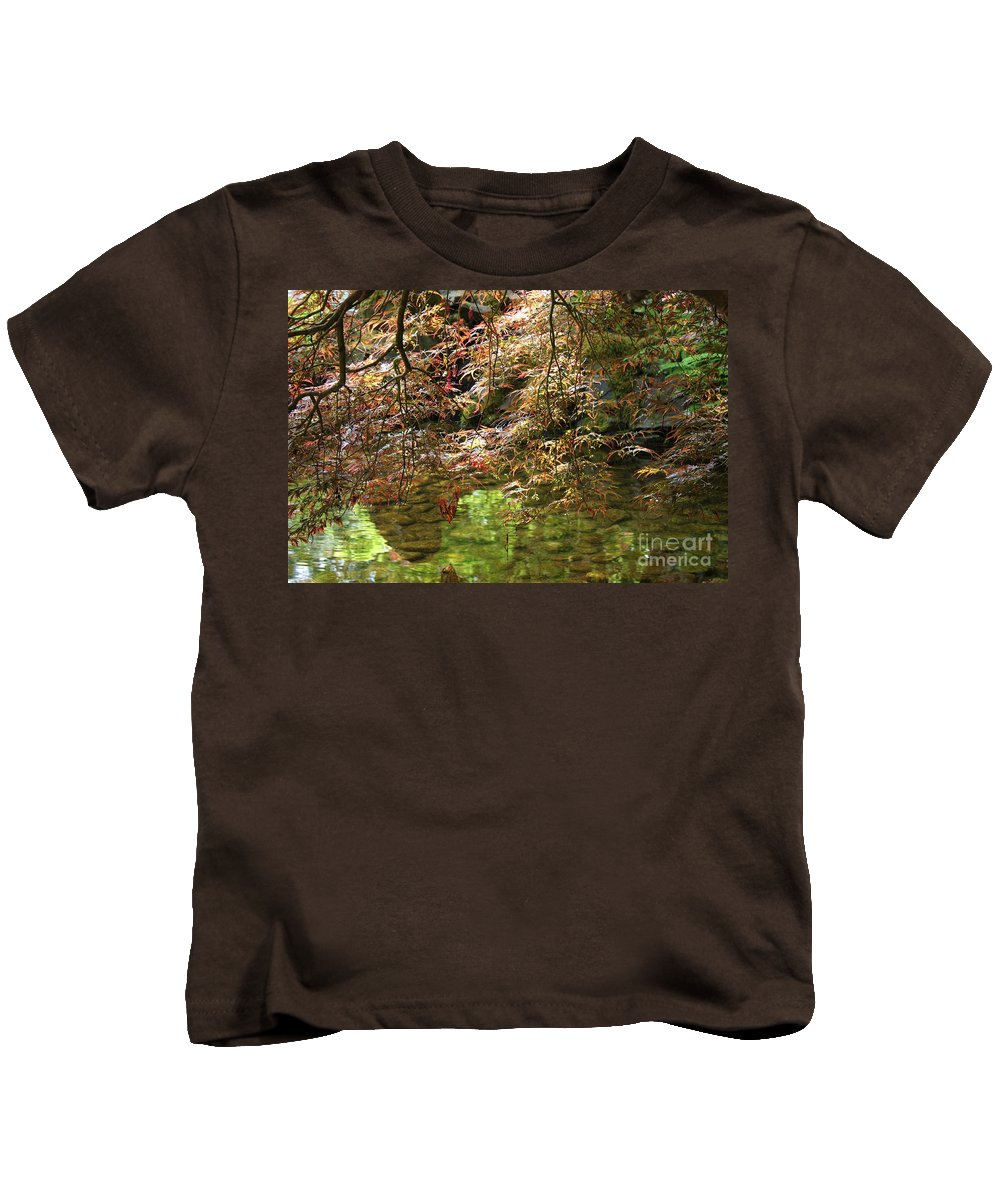 Japanese Garden Kids T-Shirt featuring the photograph Spring Maple Leaves Over Japanese Garden Pond by Carol Groenen