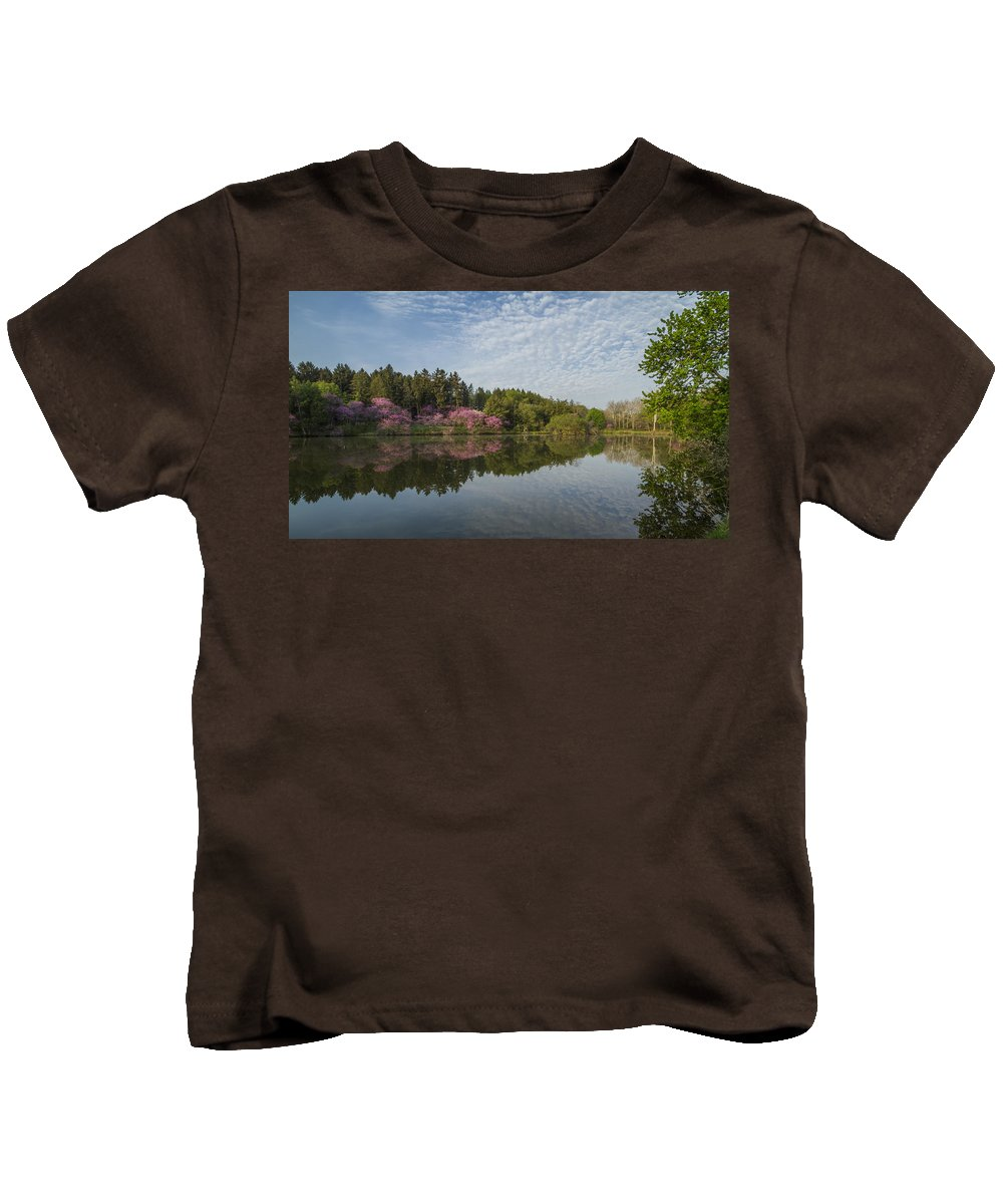 Redbud Kids T-Shirt featuring the photograph Spring Redbud Trees by Lindley Johnson