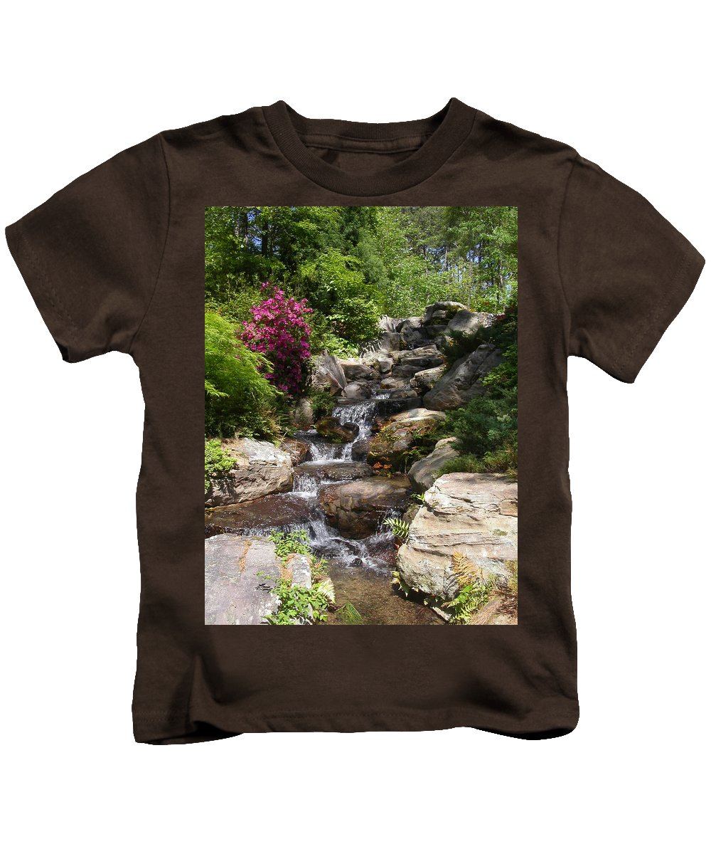 Spring Kids T-Shirt featuring the photograph Spring Waterfall by Anne Cameron Cutri
