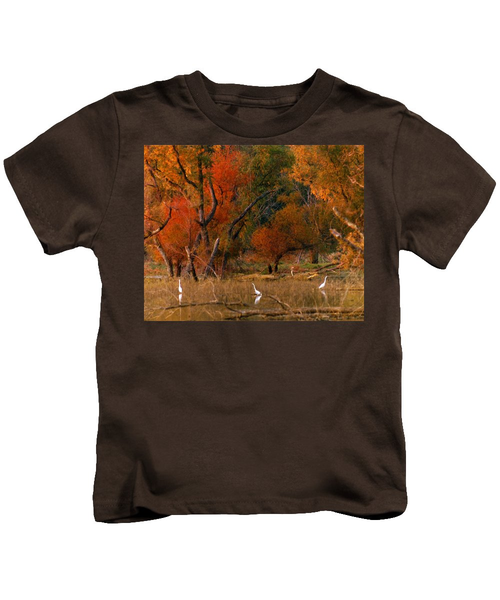Landscape Kids T-Shirt featuring the photograph Squaw Creek Egrets by Steve Karol