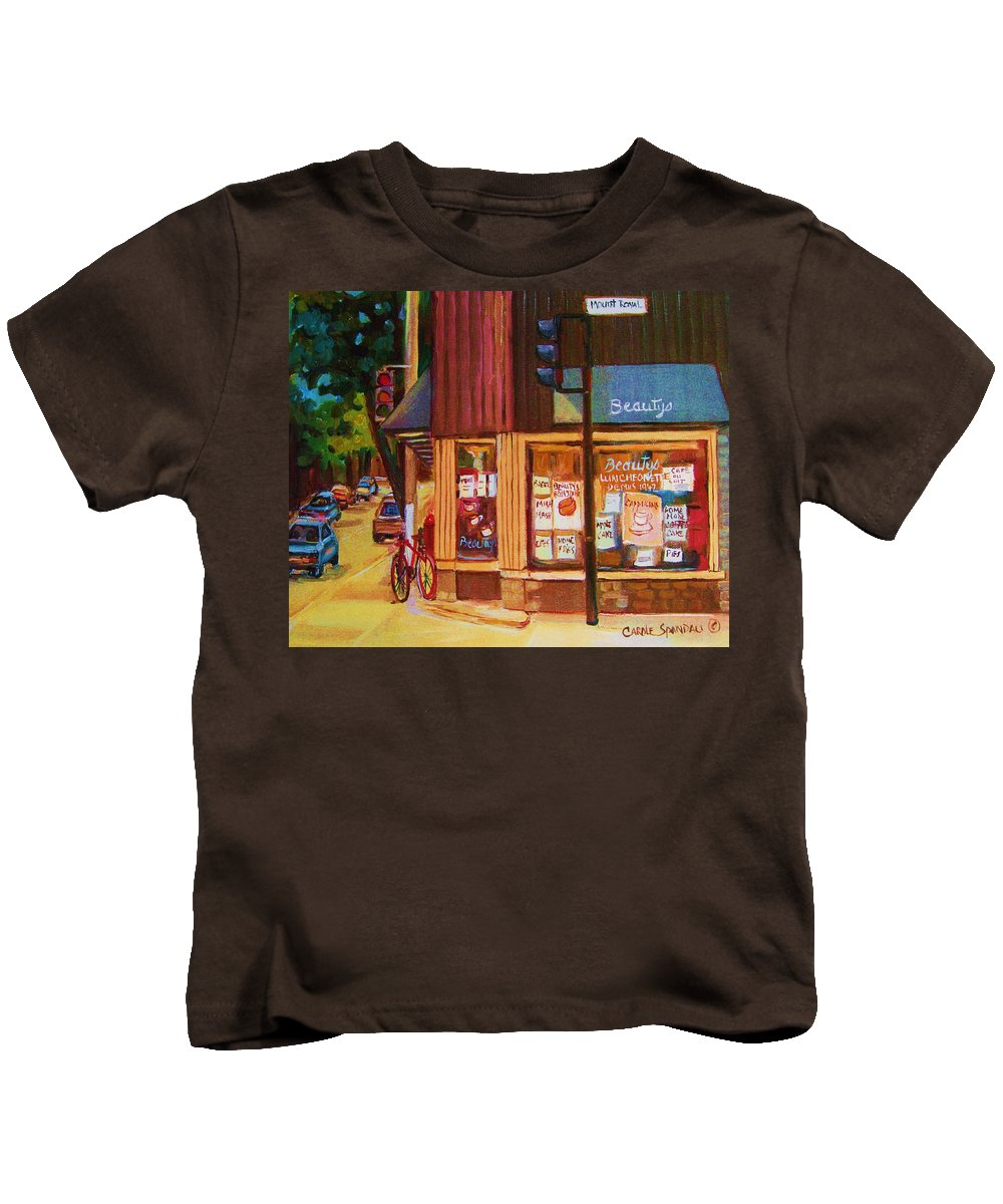 Beautys Kids T-Shirt featuring the painting St Urbain And Mount Royal by Carole Spandau