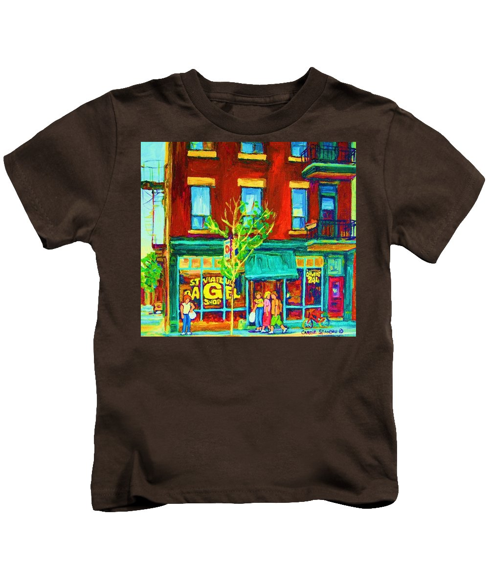 St. Viateur Bagel Shop Kids T-Shirt featuring the painting St Viateur Bagel Shop by Carole Spandau