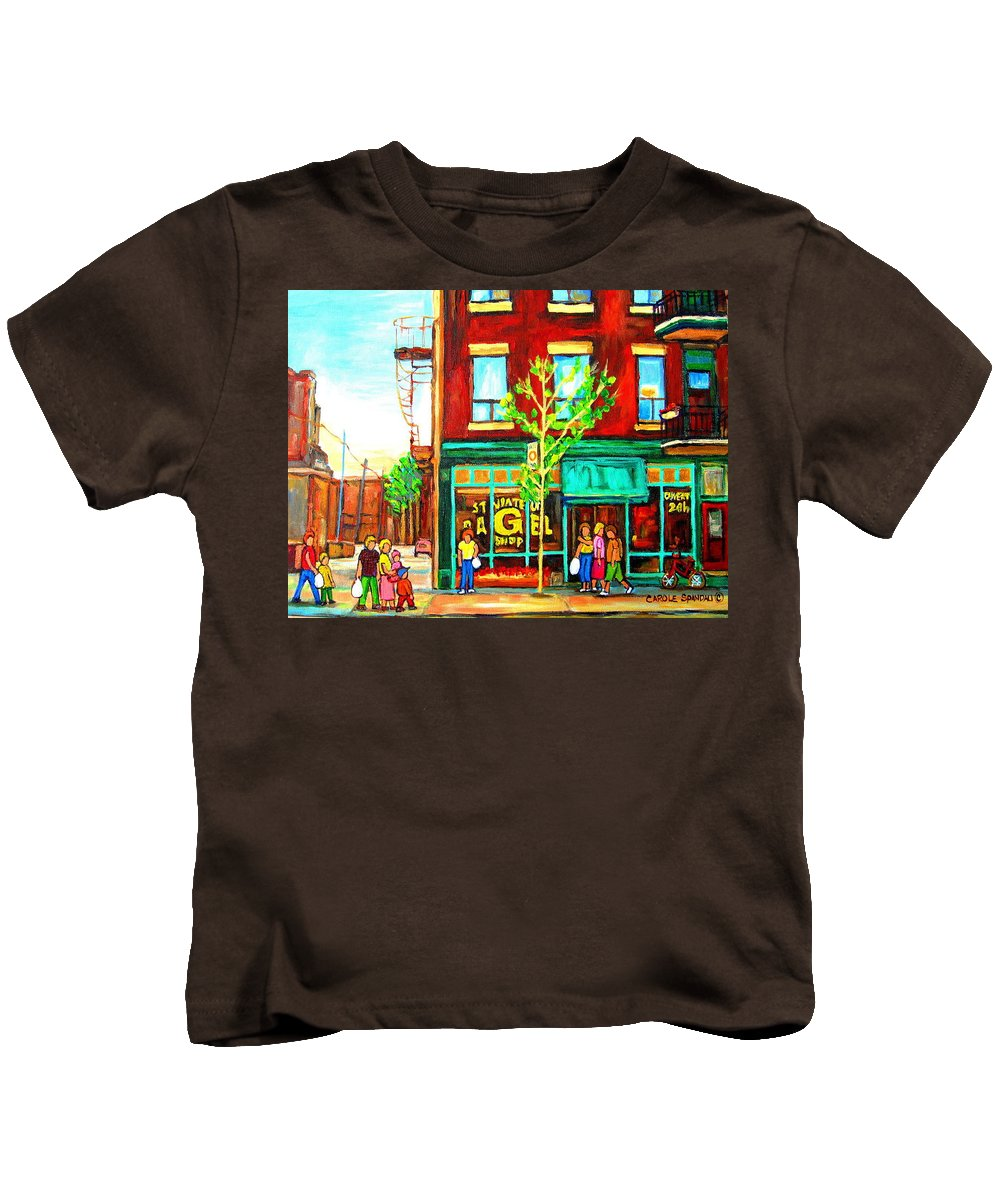 Cityscapes Kids T-Shirt featuring the painting St. Viateur Bagel With Shoppers by Carole Spandau