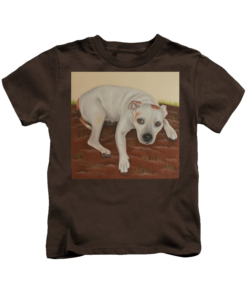 Drawing Kids T-Shirt featuring the drawing Stafford by Denise Nijs
