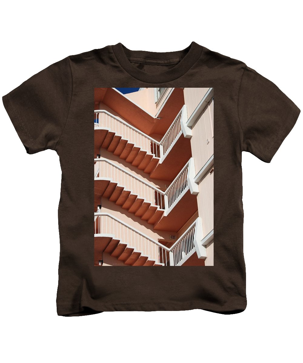 Architecture Kids T-Shirt featuring the photograph Stairs And Rails by Rob Hans