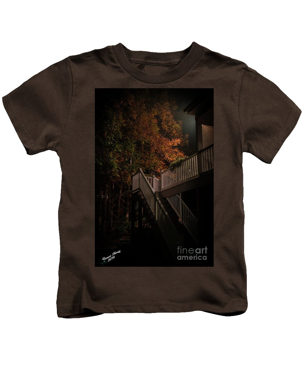 Stairs Kids T-Shirt featuring the photograph Stairway To Autumn Leaves by Aaron Shortt