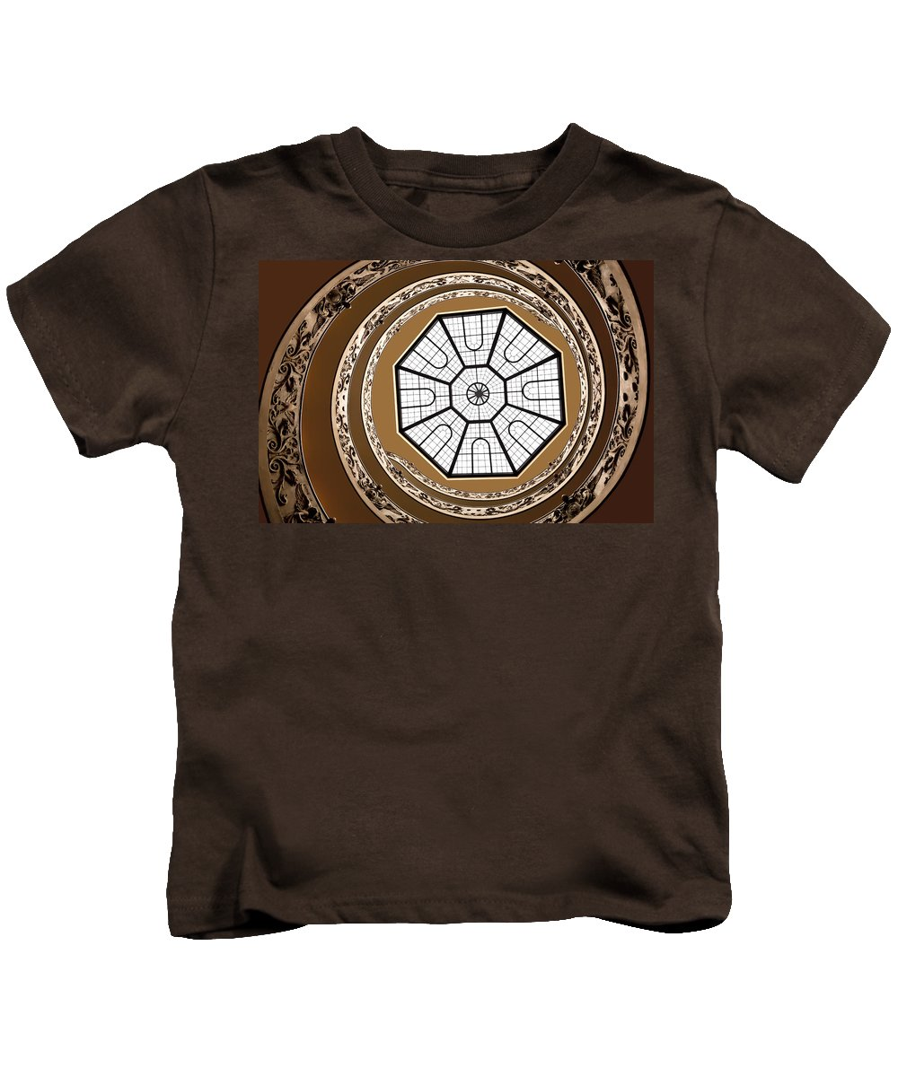 Vatican Museum Kids T-Shirt featuring the photograph Stairway To Heaven by Janet Fikar