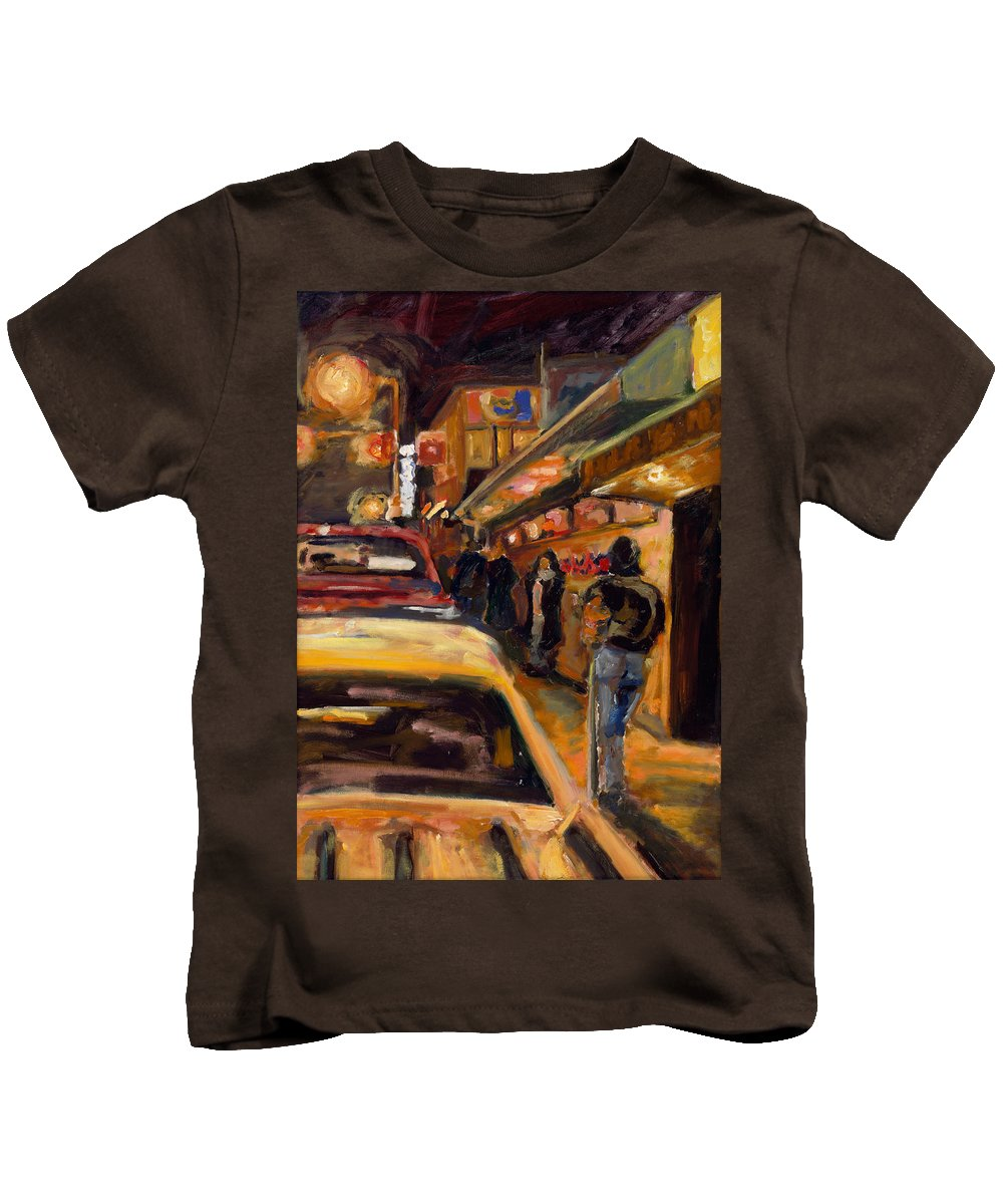 Rob Reeves Kids T-Shirt featuring the painting Steb's Amusements by Robert Reeves