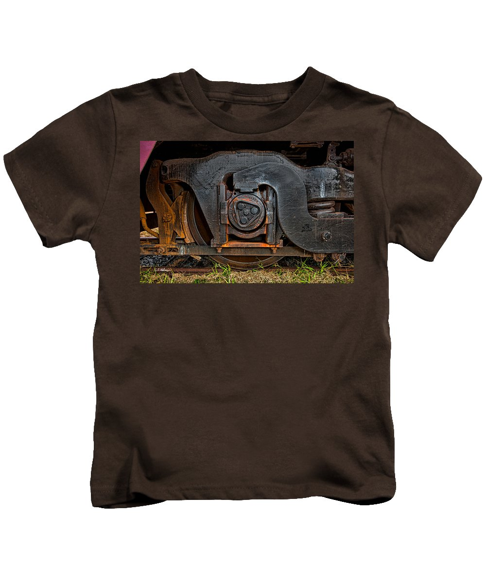 Train Kids T-Shirt featuring the photograph Steel Wheel Of Progess by Christopher Holmes