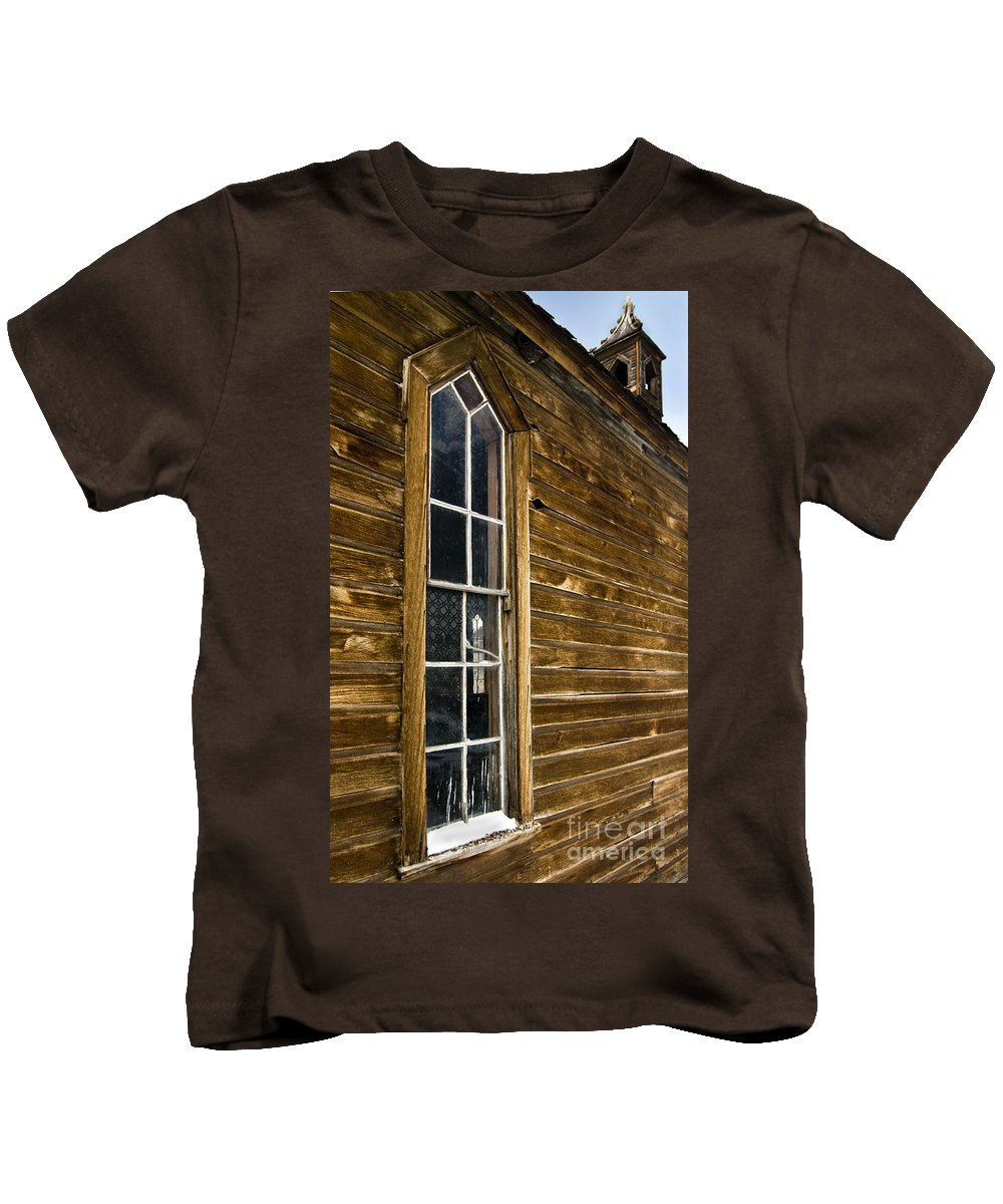 California Scenes Kids T-Shirt featuring the photograph Steeple Window Wall by Norman Andrus