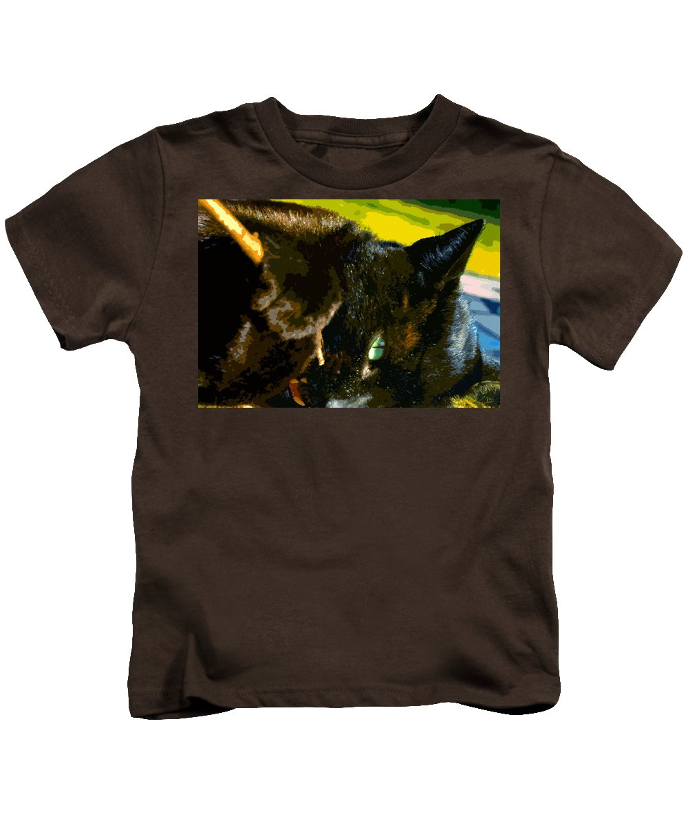 Cat Kids T-Shirt featuring the painting Stick Play by David Lee Thompson