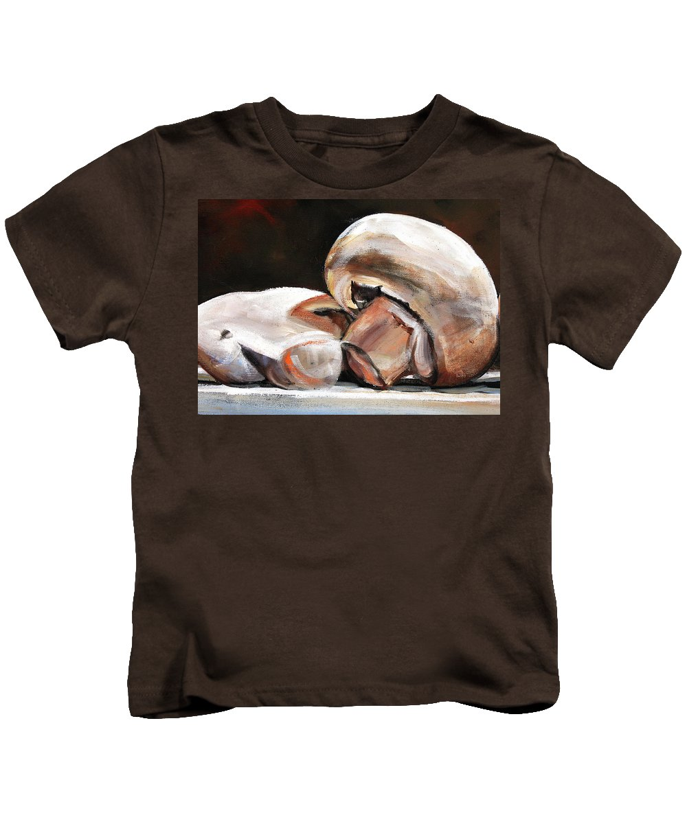 Mushrooms Kids T-Shirt featuring the painting Still Life Mushrooms by Toni Grote