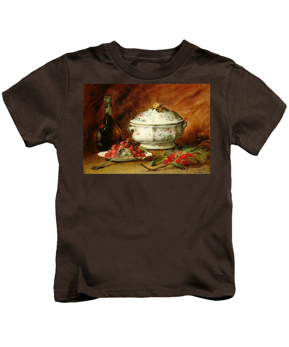 Still Kids T-Shirt featuring the painting Still Life With A Soup Tureen by Guillaume Romain Fouace