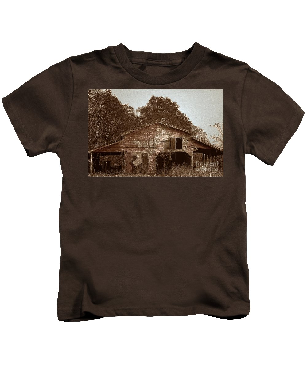 Barn Kids T-Shirt featuring the photograph Still Working by Amanda Barcon