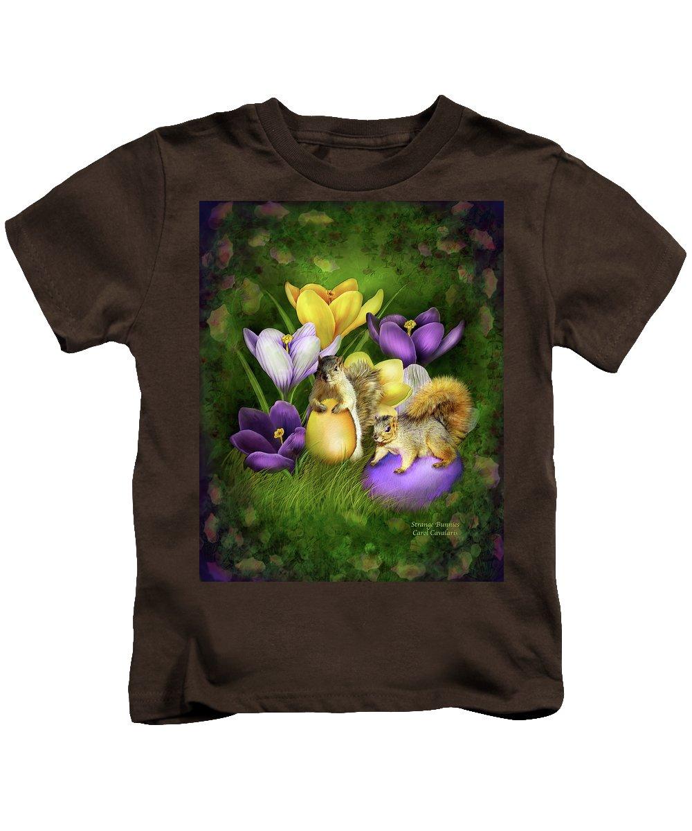Easter Art Kids T-Shirt featuring the mixed media Strange Bunnies by Carol Cavalaris