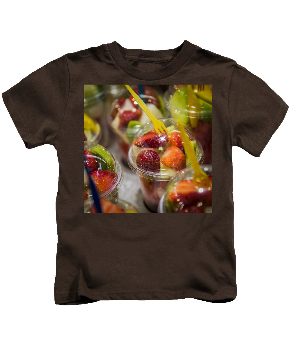 Strawberry Kids T-Shirt featuring the photograph Strawberry Desert - La Bouqueria - Barcelona Spain by Jon Berghoff