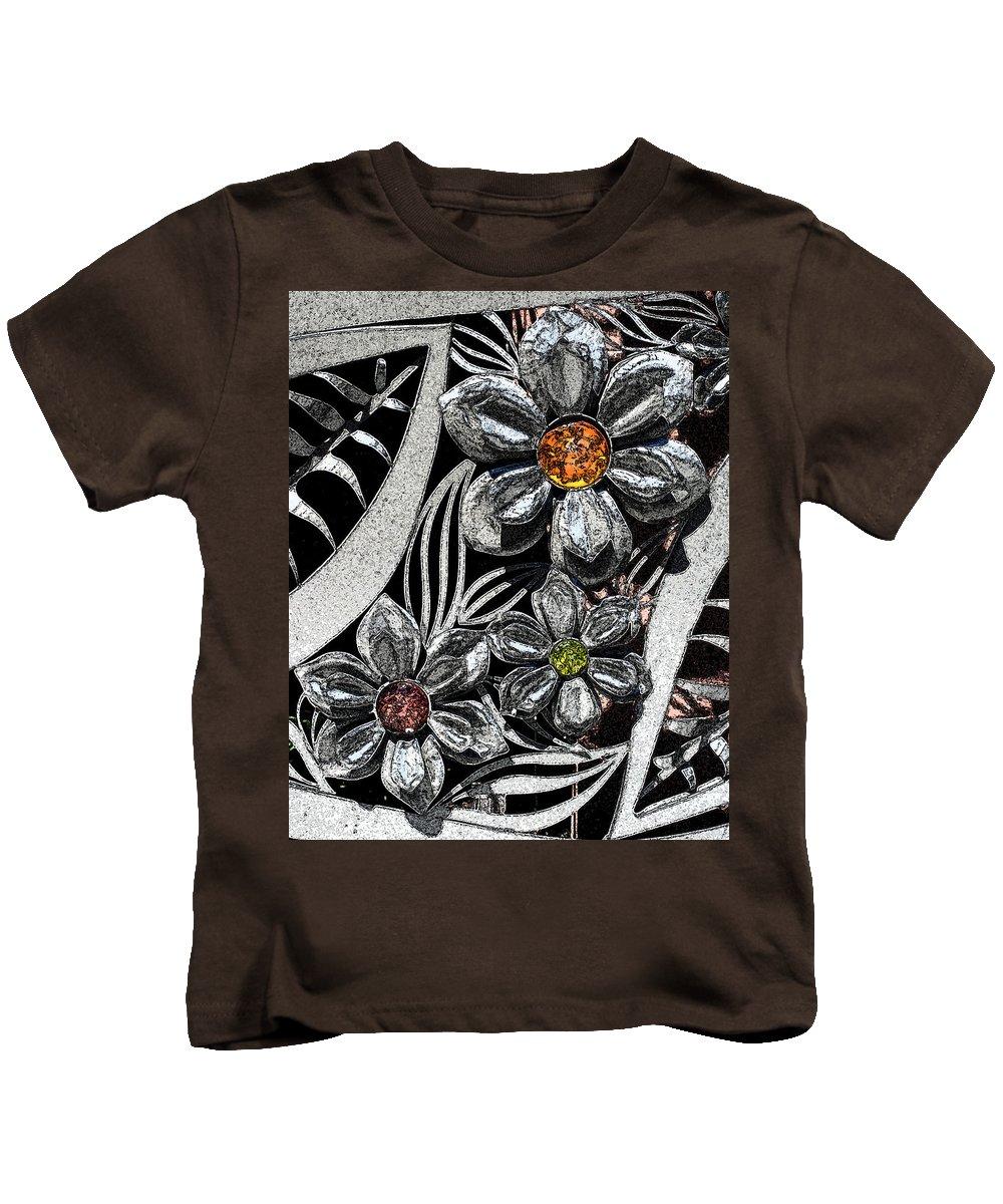 Flowers Kids T-Shirt featuring the photograph Street Flowers by Carol Eliassen