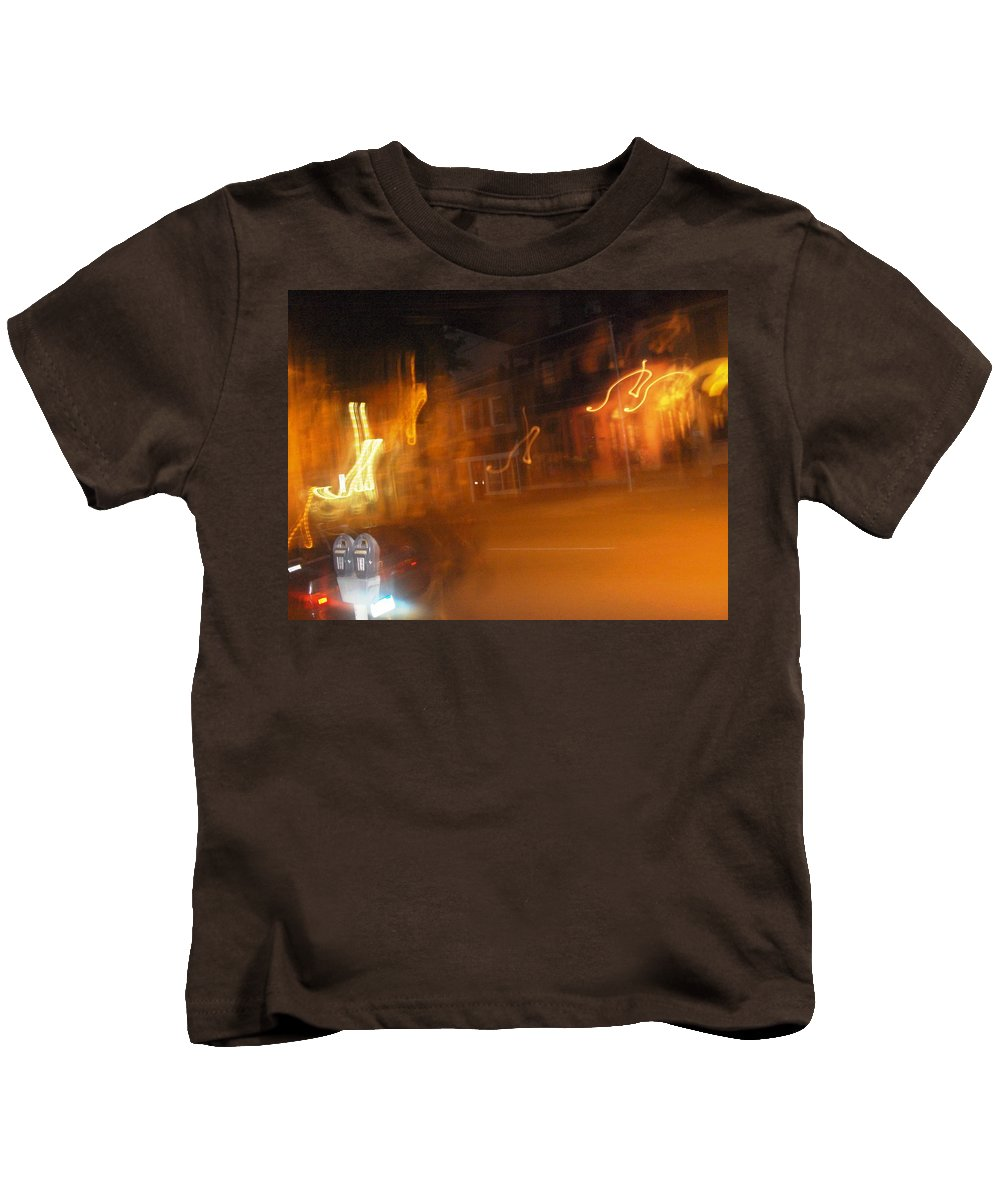 Photograph Kids T-Shirt featuring the photograph Streets On Fire by Thomas Valentine