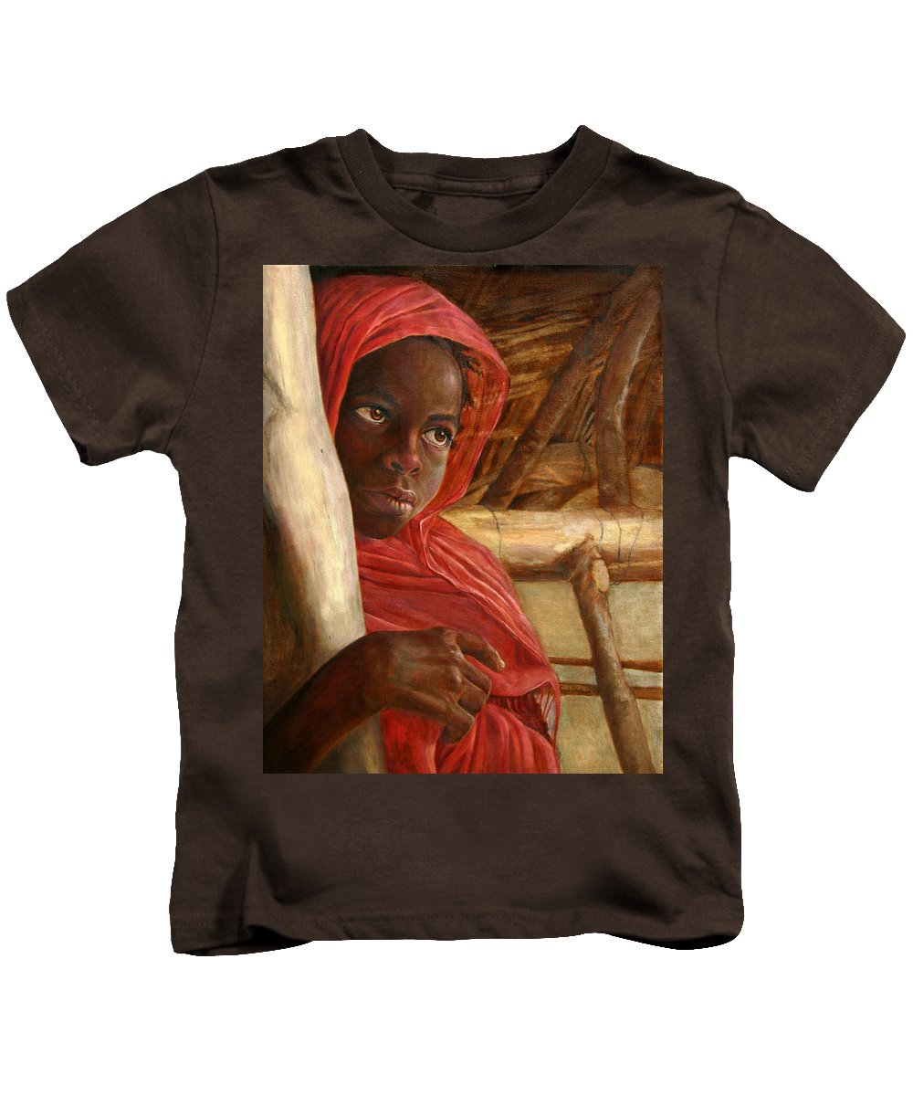 Children Painting Kids T-Shirt featuring the painting Sudanese Girl by Portraits By NC