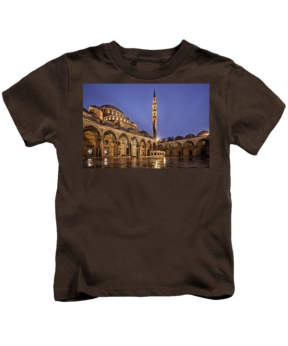 Suleymaniye Mosque Kids T-Shirt featuring the digital art Suleymaniye Mosque by Dorothy Binder
