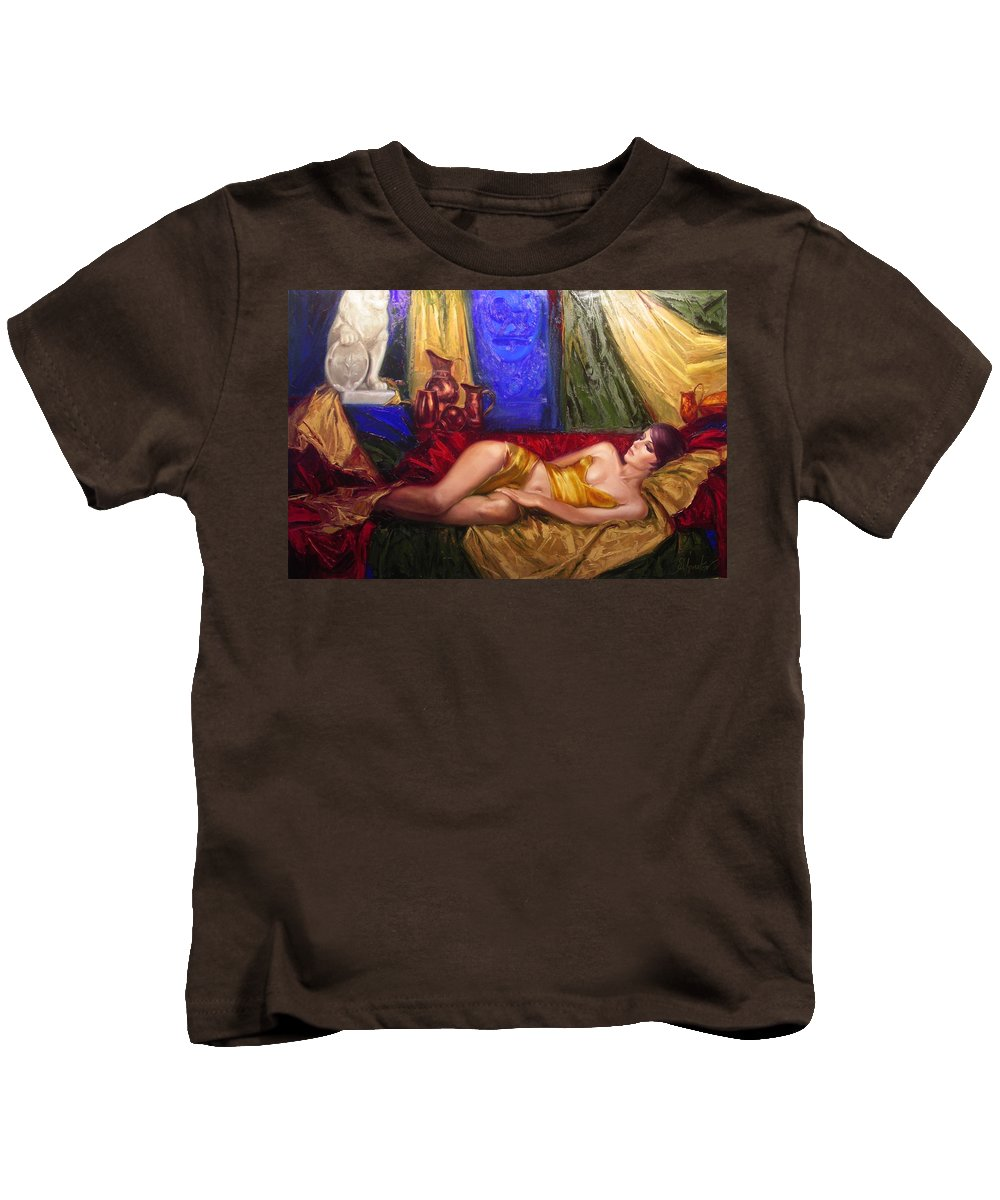 Art Kids T-Shirt featuring the painting Sultan Spouse by Sergey Ignatenko