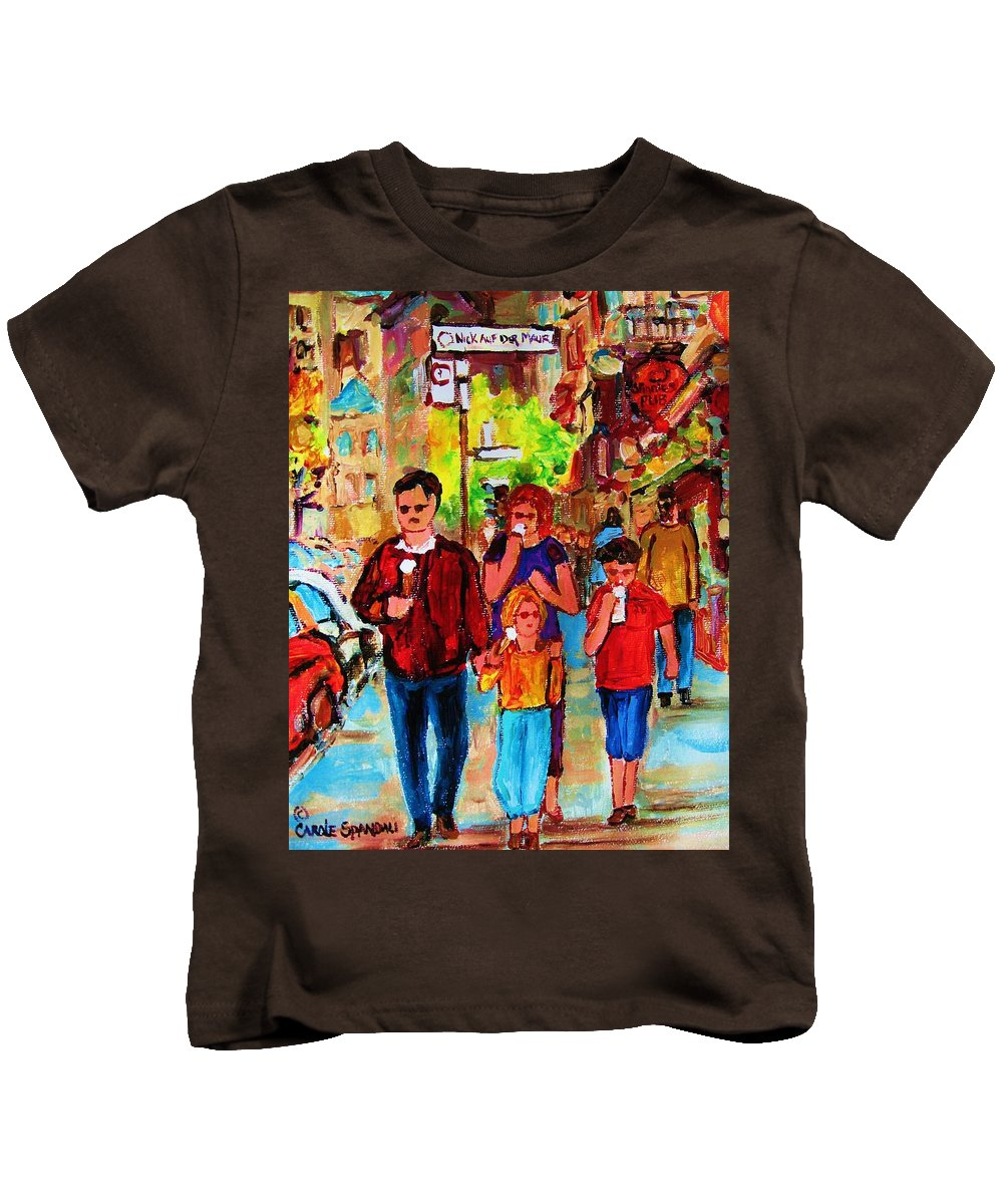 Montreal Streetscenes Kids T-Shirt featuring the painting Summer In The City by Carole Spandau