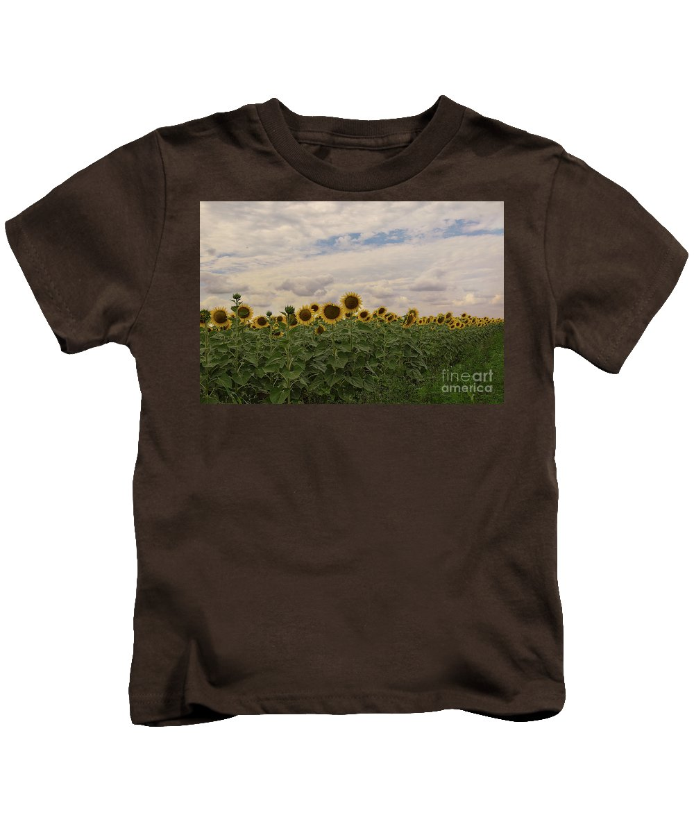 Flowers Kids T-Shirt featuring the photograph Sunflowers by Elvira Ladocki