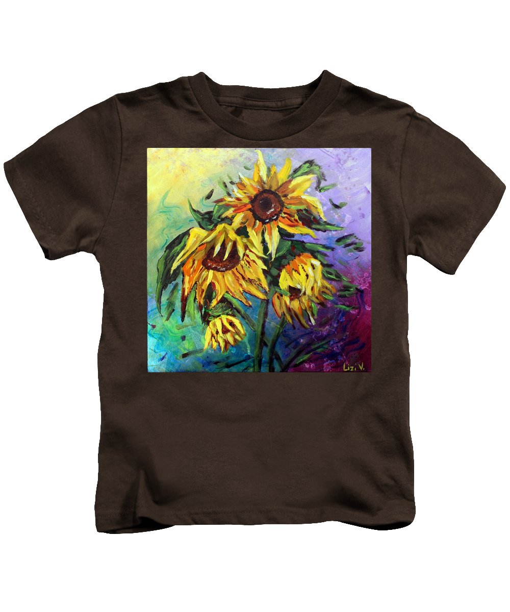 Art Kids T-Shirt featuring the painting Sunflowers In The Rain by Luiza Vizoli