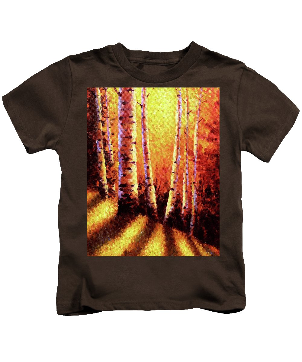Sunlight Kids T-Shirt featuring the painting Sunlight Through The Aspens by David G Paul